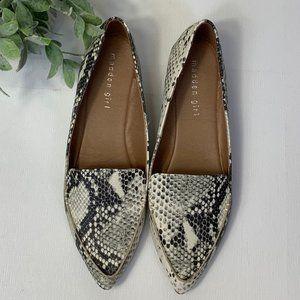 Madden Girl Snakeskin Feather Loafer Flats